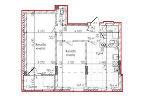 КД Centr: планировка 2-комнатной квартиры 64 м²