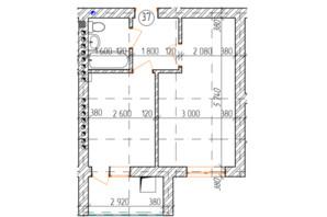КД Дружный: планировка 1-комнатной квартиры 35.9 м²