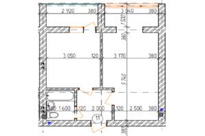 КД Дружный: планировка 1-комнатной квартиры 43.8 м²