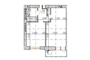 КД Дружный: планировка 1-комнатной квартиры 34.9 м²