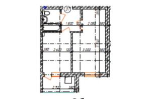 КД Дружный: планировка 1-комнатной квартиры 37.3 м²