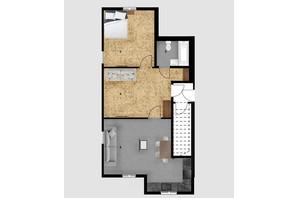 КД Дружний: планировка 1-комнатной квартиры 59.8 м²
