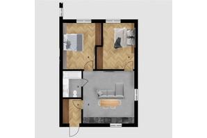 КД Дружний: планировка 2-комнатной квартиры 65.16 м²