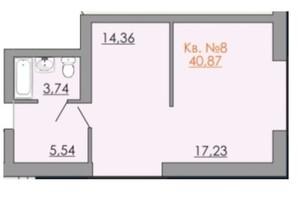КД Европейский квартал: планировка 1-комнатной квартиры 40.87 м²