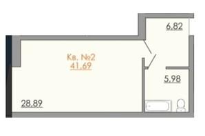 КД Европейский квартал: планировка 1-комнатной квартиры 41.69 м²