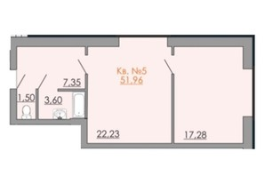КД Европейский квартал: планировка 1-комнатной квартиры 51.96 м²
