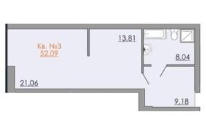 КД Европейский квартал: планировка 1-комнатной квартиры 52.09 м²