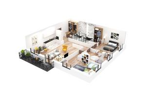 КД Корона Ренессанса: планировка 4-комнатной квартиры 146.98 м²