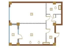 КД Leonardo town: планировка 1-комнатной квартиры 63.4 м²