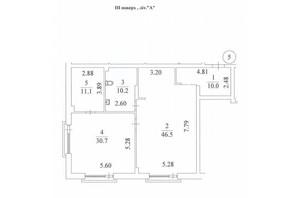 КД Liberty Residence: планировка 2-комнатной квартиры 109.7 м²
