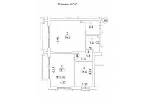 КД Liberty Residence: планировка 2-комнатной квартиры 109 м²