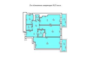 КД Люксембург: планування 2-кімнатної квартири 81.7 м²