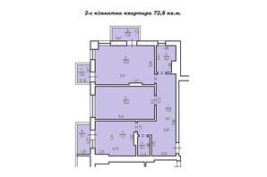 КД Люксембург: планировка 2-комнатной квартиры 72.8 м²