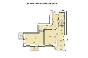 КД Люксембург: планировка 2-комнатной квартиры 68 м²
