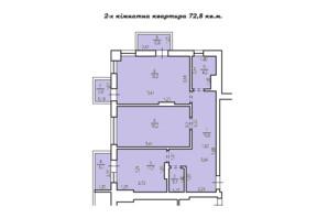 КД Люксембург: планировка 2-комнатной квартиры 72 м²