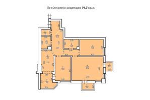 КД Люксембург: планировка 3-комнатной квартиры 94.2 м²