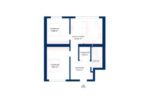 КД Liverpool House: планировка 2-комнатной квартиры 61.71 м²