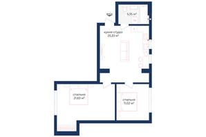 КД Liverpool House: планировка 2-комнатной квартиры 70.58 м²
