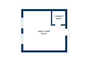 КД Liverpool House: планировка 1-комнатной квартиры 29.93 м²