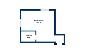 КД Liverpool House: планировка 1-комнатной квартиры 32.02 м²