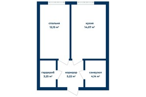 КД Liverpool House: планировка 1-комнатной квартиры 38.86 м²