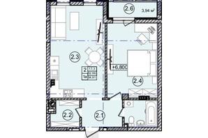 КД На Кондукторской: планировка 1-комнатной квартиры 55 м²