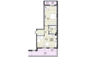 КД На Кондукторской: планировка 1-комнатной квартиры 66 м²
