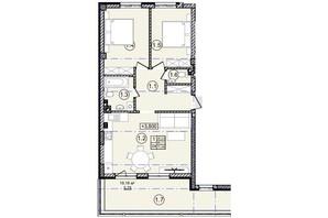 КД На Кондукторской: планировка 2-комнатной квартиры 72 м²