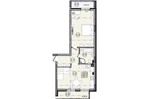 КД На Кондукторской: планировка 1-комнатной квартиры 62 м²