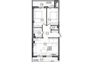 КД На Кондукторской: планировка 2-комнатной квартиры 70 м²