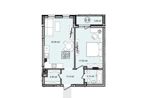 КД На Кондукторской: планировка 1-комнатной квартиры 55.05 м²