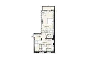 КД На Кондукторской: планировка 1-комнатной квартиры 60.12 м²