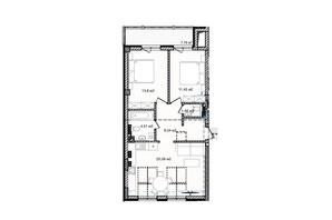 КД На Кондукторской: планировка 2-комнатной квартиры 67.66 м²