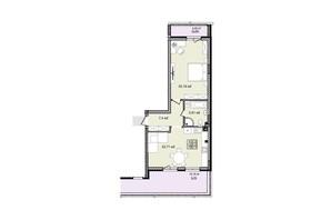 КД На Кондукторской: планировка 1-комнатной квартиры 66.13 м²