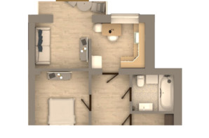 КД Образцовый: планировка 1-комнатной квартиры 47.4 м²