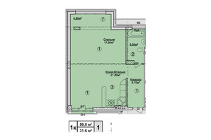 КД Rezydencja Zalizna Voda: планировка 1-комнатной квартиры 59 м²