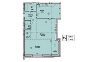 КД Rezydencja Zalizna Voda: планировка 2-комнатной квартиры 72.1 м²