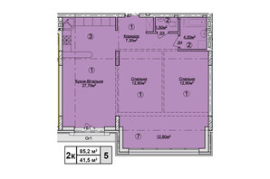 КД Rezydencja Zalizna Voda: планировка 2-комнатной квартиры 85.2 м²