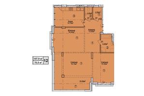 КД Rezydencja Zalizna Voda: планировка 3-комнатной квартиры 107.9 м²