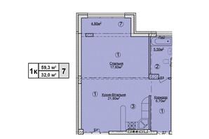 КД Rezydencja Zalizna Voda: планировка 1-комнатной квартиры 59.3 м²