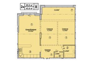 КД Rezydencja Zalizna Voda: планировка 2-комнатной квартиры 85.9 м²