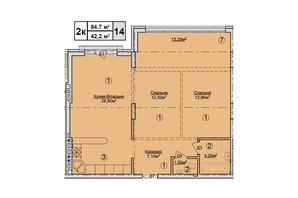 КД Rezydencja Zalizna Voda: планировка 2-комнатной квартиры 84.7 м²