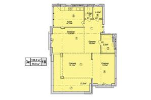 КД Rezydencja Zalizna Voda: планировка 3-комнатной квартиры 108 м²