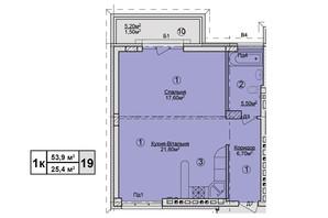 КД Rezydencja Zalizna Voda: планировка 1-комнатной квартиры 53.9 м²