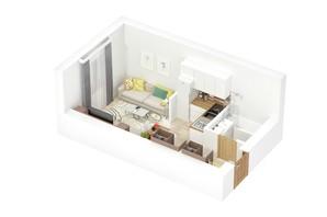 КД по пер. Дубенский: планировка 1-комнатной квартиры 23 м²