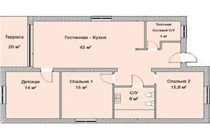 КГ Графський: планування 3-кімнатної квартири 125 м²