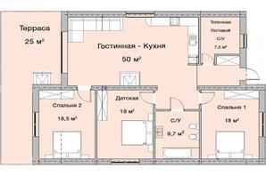 КГ Графський: планування 3-кімнатної квартири 145 м²