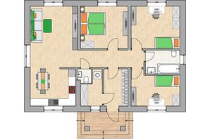 КГ Green city: планировка 3-комнатной квартиры 90.42 м²
