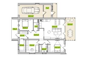 КГ Новая Александровка: планировка 3-комнатной квартиры 106 м²