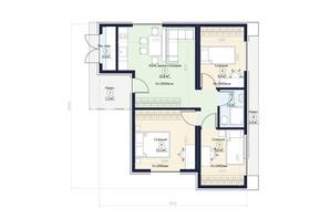 КГ Новая Конча-Заспа Crystal: планировка 3-комнатной квартиры 65 м²